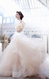 Delicate Satin Bodice Tulle Ball Gown With Floral Jewel Embellished Waist