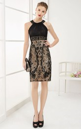 High Neck Sleeveless Sheath Knee Length Lace Prom Dress With Tulle Top