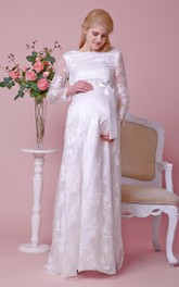 Bateau Illusion Long-sleeved Lace Long Dress With Beaded Waist