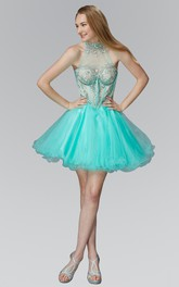 A-Line Short High Neck Sleeveless Tulle Illusion Dress With Ruffles And Beading