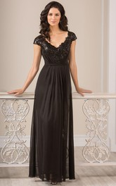 Cap-Sleeved A-Line Long Gown With Sequins And Keyhole Back