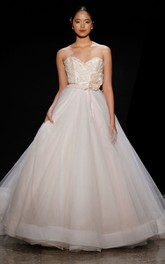 Magnificent Beaded Lace Bodice Tulle Ball Gown With Floral Corsage
