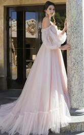 3/4 Poet Sleeves Charming Tulle Sweetheart Off-shoulder Wedding Dress