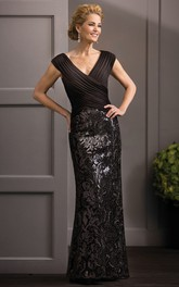 V-Neck Cap-Sleeved Mother Of The Bride Dress With Crisscross Ruches And Sequins