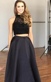 Sexy Two Piece Beadings Evening Dress 2018 Front Split Sweep Train