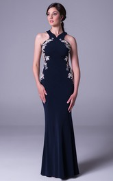 Sheath Maxi Sleeveless Appliqued Jersey Prom Dress