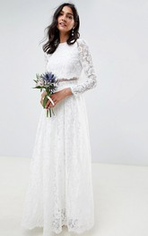 Ethereal Two Piece Jewel Neckline Floor Length Bridal Gown