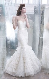 Noble Lace Pleated Organza Mermaid Dress With Silk Ribbon