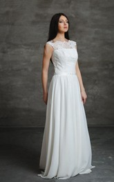 Chiffon A-Line Sleeveless Dress With Lace Bodice and Keyhole Back