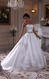 Satin Strapless Ball Gown With Ruching and Crystal Detailed Waistbelt