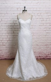Lace V-Neck Trumpet Sleeveless Dress With Low-V Back