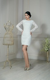Sheath Short Jewel-Neck Illusion-Sleeve Low-V-Back Lace Dress