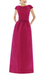 Modest Satin Short Sleeve Long Bridesmaid Dress with Bow