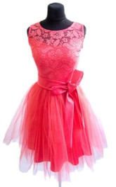 Mini Tulle And Lace Dress With Satin Belt