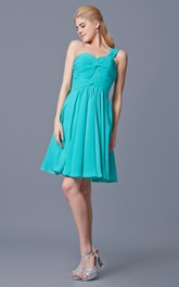 One Shoulder Short A-line Chiffon Dress With Complicated Bodice