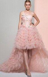 Strapless Ball Gown Beading Bowknot Lace Ruffles Tiered Sweep Train Prom Dress