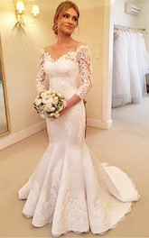 Modern Off-the-shoulder 3-4-longth-sleeve Mermaid Wedding Dress With Lace Appliques