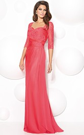 Floor-Length Half Sleeve Appliqued Sweetheart Chiffon Mother Of The Bride Dress