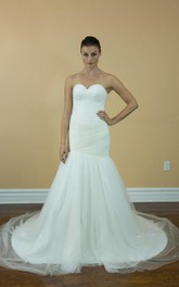 Sweetheart Ruched Mermaid Tulle Dress With Court Train