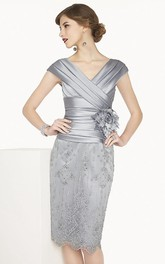 Satin V Neck Cap Sleeve Sheath Knee Length Lace Dress With Flower Shown In Silver