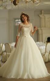 A-Line Floor-Length Scoop Half-Sleeve Illusion Tulle Dress With Appliques
