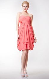 Empire Sweetheart Chiffon Knee Length Dress With Flower