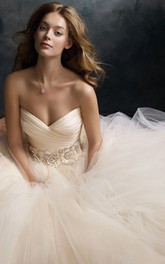Noble Crisscross Ruched Bodice Tulle Dress With Floral Jeweled Waistband