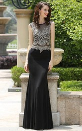 Sheath Floor-Length Bateau Sleeveless Jersey Beading Illusion Dress