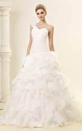 Intricate Ruched A-Line Gown With Single Strap and Ruffled Skirt