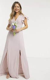 Front Split Ethereal Ruching Top V-neck Cap Sleeve Chiffon Bridesmaid Dress