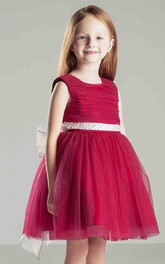 Flower Girl Empire Scoop Neck A-line Tulle Short Dress With Sash