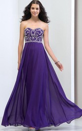Sweetheart Beading Sequins Floor-Length Prom Dress