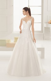 Bodice A-line Dress With Illusion Back And Appliques