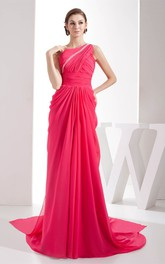 One-Shoulder Jeweled Chiffon Sweep Train and Dress With Central Ruching