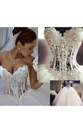 Elegant Sweetheart Sleeveless Tulle Wedding Dress With Appliques Beadings