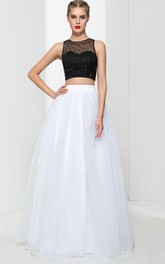 A-Line Two Pieces Beading Prom Dress
