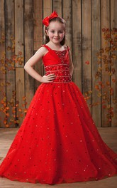 Flary Strapped A-Line Flower Girl Dress With Beaded Waist