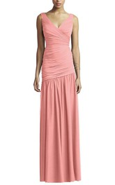 V-neck Ruched Bodycon A-line Long Dress