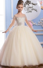 Ball Gown Tulle Scoop Illusion Sleeve Beading Flower Girl Dress