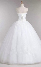 Ball Gown Sweetheart Sleeveless Backless Tulle Lace Dress
