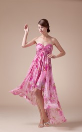 Sweetheart High-Low Empire Criss-Cross Floral Print and Dress With Jewel