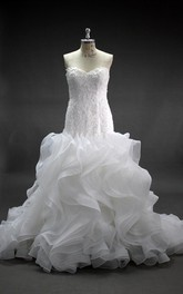 Mermaid Lace and Organza Dress With Cascading Ruffles