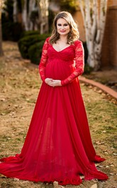 A-line Illusion Long Sleeve Empire Maternity Dress