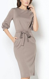 Bateau Neck 3-4 Puff Sleeve Sheath Jersey Short Dress With Sash