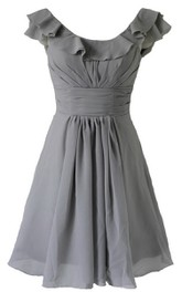 Sleeveless Short Empire Chiffon Dress With Pleats