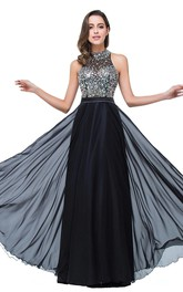Newest High Neck Crystals 2018 Prom Dress A-line Zipper