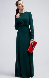 Bateau Long Sleeve Sheath Jersey Floor Length Dress With Ruching