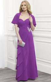 Poet Sleeve Sweetheart Criss-Cross Chiffon Mother Of The Bride Dress