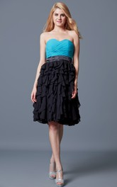 Vibrant Sweetheart Ruffled A-line Short Chiffon Dress