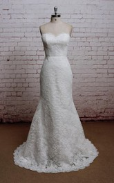 Strapless Lace Trumpet Bridal Dress With Court Train